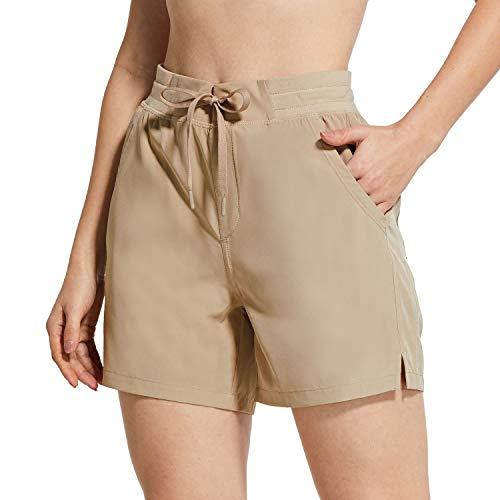 BALEAF Women's 5' Hiking Shorts with Zip Pocket Quick Dry Athletic Running Shorts Elastic Waist Khaki Large
