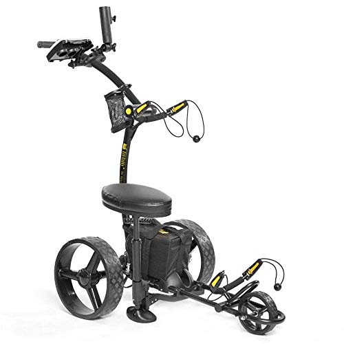 Bat-Caddy X4 Sport Electric Push Cart w/ Free Accessory Kit, 35Ah, Black
