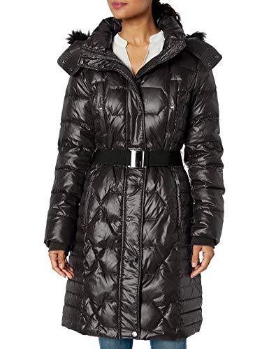 Marc New York por Andrew Marc para mujer Plymouth cinturón chaqueta con capucha extraíble de piel sintética