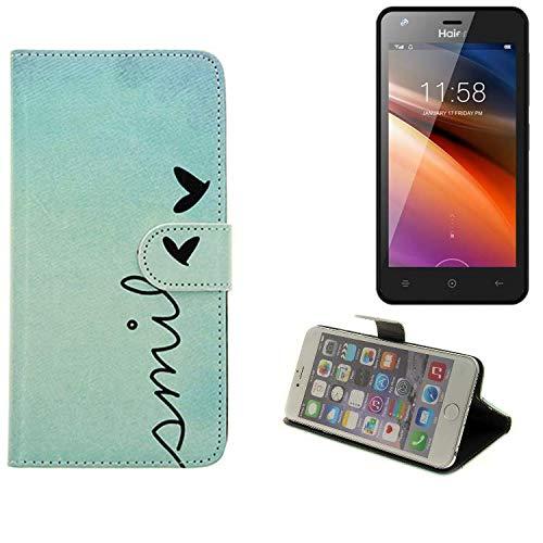 K-S-Trade® Schutzhülle Für Haier G21 Hülle Wallet Case Flip Cover Tasche Bookstyle Etui Handyhülle ''Smile'' Türkis Standfunktion Kameraschutz (1Stk)