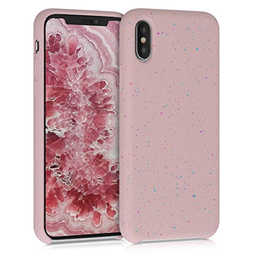 kwmobile TPU Silicone Case Compatible with Apple iPhone Xs - Flexible Cover with Camera Protection - Paint Splatter Dark Pink/Blue/Dusty Pink