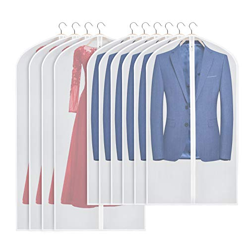 UNIVIVI 40 | 54INCH(10-PACK) HANGING GARMENT CLEAR BAGS FOR TRAVEL MOTH FREE GARMENT BAGS WASHABLE DUST-PROOF CLOTHES COVERS GARMENT BAG FOR DRESS COAT GOWN STORAGE