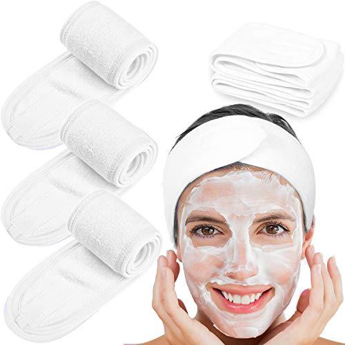 Whaline - Toalla de rizo tipo diadema, para tratamientos faciales o maquillaje blanco blanco