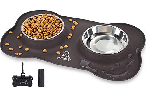 Pecute Comedero para Gatos Perros Mascotas de Acero Inoxidable Base de Silicona Antideslizante con Bolsa para heces de Perro y dispensador y Pinza para Correa(L(750ml*2), Marrón)