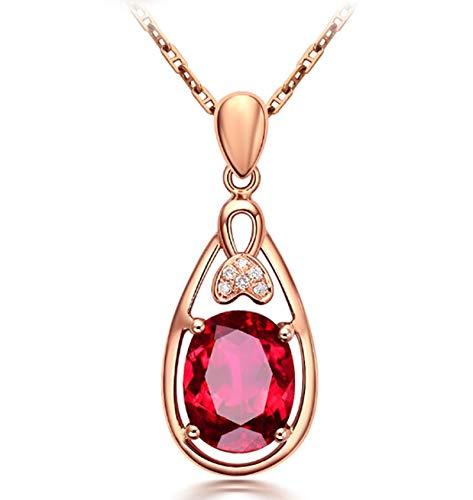 ANAZOZ 18K Oro Rosa Collar Colgante Mujer Oro Rosa Collar Colgante Mujer Gota Oval Turmalina Sangre Paloma Roja Blanca 1.85ct