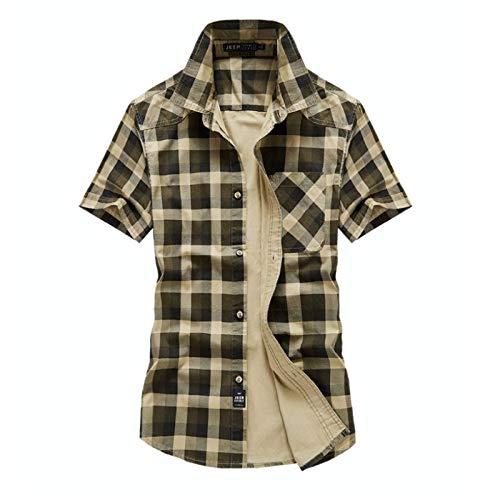 Camisa de Manga Corta para Hombre, Novedad de Verano, Camisa Informal de Manga Corta a Cuadros, Camisa de Solapa de Moda Informal para Trabajo XL