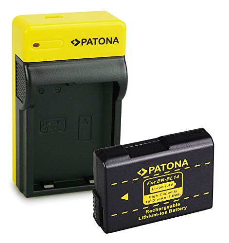 PATONA Bateria EN-EL14 con Estrecho Cargador Compatible con Nikon P7700, P7800, D3400, D5500, D5600