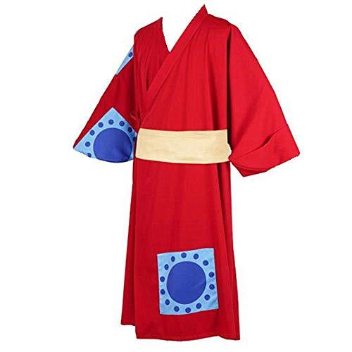 Disfraz de Cosplay de Anime One Piece, Kimono Rojo Utilizado para Halloween, Navidad, Carnaval, Fiesta temtica, Cosplay, Mono D. Luffy