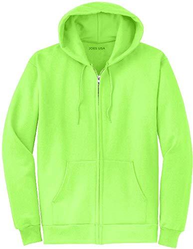 Joe's USA Full Zipper Hoodies - Hooded Sweatshirt Electric Neon Hot Green, Medium