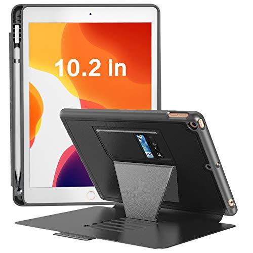 iPad10.2ケース第7世代2019モデル落下衝撃保護6段階スタンド機能便利なペンホルダー付きカード収納防塵全面保護型傷つけ防止2019iPad(7thGen)10.2IN(Model#'sA2197,A2200,A2198)