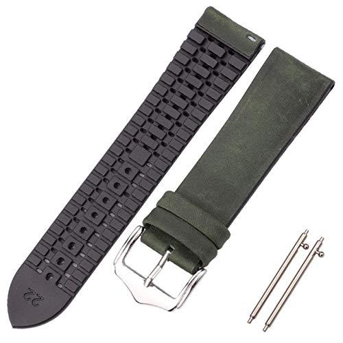 FAAGFC Correa de reloj de piel de vaca y silicona 18 20 22 mm para hombres y mujeres, impermeable, transpirable, accesorios de reloj (color de la correa: verde profundo, ancho de la correa: 18 mm)