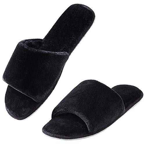 DL Open Toe Womens Slippers Indoor, Cozy Memory Foam House Slippers for Women Slip On, Comfy Soft Flannel Womens Bedroom Slippers Slide Breathable Size 9-10 Black