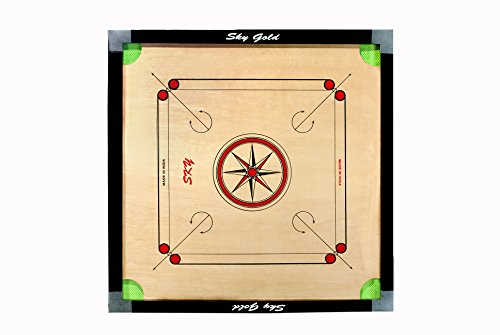SKY GOLD Skygold Cut Pocket Carrom Board with Coins, Striker & Powder (32 Inches)