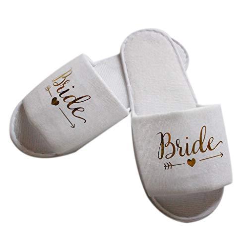 DUESI Pantofole da Sposa da Sposa Pigiama da Sposa Festa Decorazione da Damigella d'Onore Pantofola USA e Getta per Hotel