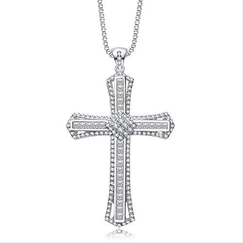 NC128 Charm 14k Oro Blanco Diamante Cz Cruz Colgante 925 Plata esterlina Fiesta Boda Colgante Collar para Mujeres Hombres Joyas de Piedras Preciosas