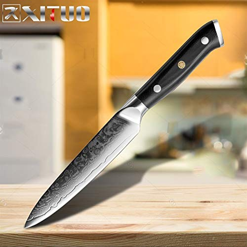 Koksmes Set Staal van Damascus scherp mes Sankotu Cut Meat Fillet keuken Fruit Chinese Kitchen Knife Keuken Koken Set (Color : 5inch Utility knife)