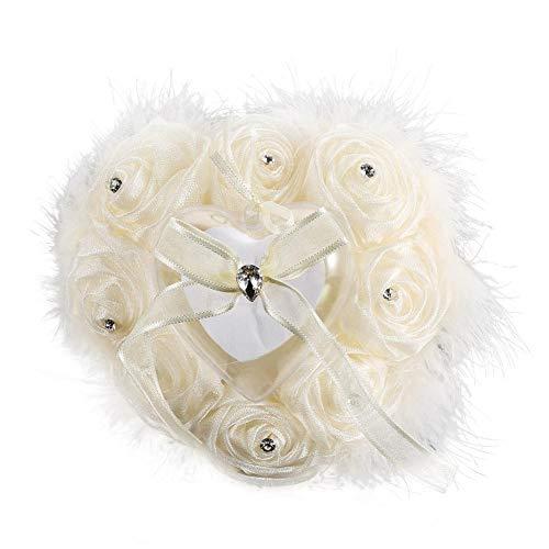 Duokon Romantische ringkussen-box, lichtgewicht rozen-bloemknoppen, hartvormig ringkussen-veer voor bruiloftsaccessoires