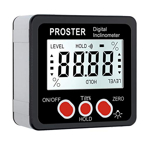 Proster Digitaler Winkelmesser Neigungsmesser LCD-Hintergrundbeleuchtung IP54 Wasserdicht Digital Level Box mit Magnetfuß für Holzarbeiten Automobilwartung Industrie(Batterie enthalten) -Schwarz
