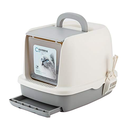 SYLTL Cat Litter Box, Cara Completa Inodoro para Gatos Cerrado, Retirable Inodoro para Gatos con Cajón Y Pala, Inodoro Y a Prueba De Salpicaduras,52 * 40 * 39cm,Gris