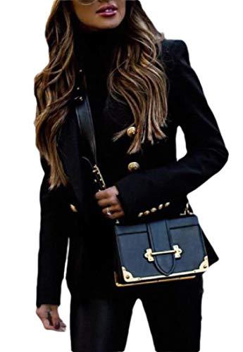 H&E - Giacca da donna con bottoni dorati, con risvolto e doppio petto Nero S