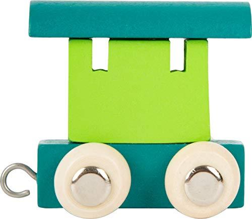 Buchstabenzug bunt | bunte Lok - farbige Waggons | Wunschname zusammenstellen | Holzeisenbahn | EbyReo® Namenszug aus Holz | personalisierbar | auch als Geschenk (Farbe Grün/Türkis, Abschlusswaggon)