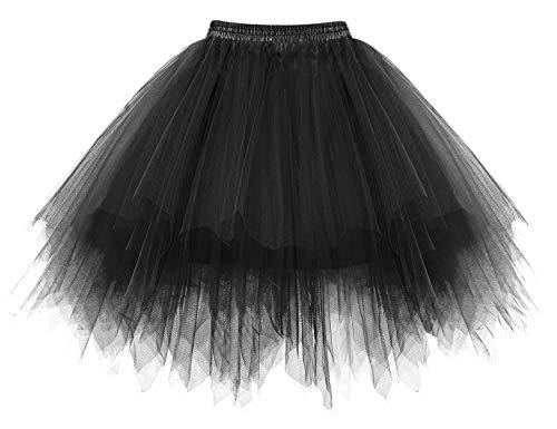 HomRain Damen Tüllrock Tutu 50er Rockabilly Petticoat Ballet Firt Tulle Tanzkleid Unterkleid Karneval Kostüm Festliche Tüll Crinoline Petticoat für Rockabilly Kleid Black M