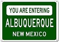 面白いビンテージ金属壁ティンサイン、あなたはアルバカーキニューメキシコシティの看板に入る金属、レトロな金属ポスタープラークガレージ壁の装飾ビンテージ金属看板