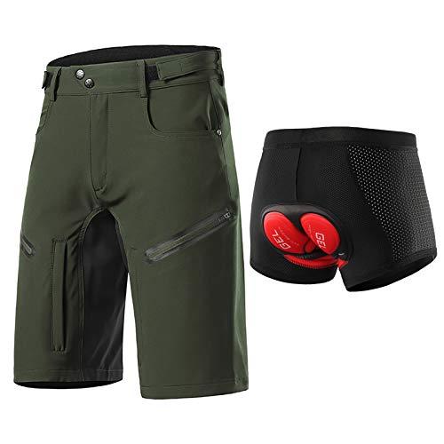 Hombres Pantalones Cortos de Ciclista, Secado Rápido Impermeable Y Transpirable Pantalones Anchos MTB con Ajustable de Velcro Sujetadores, Ropa Interior Ciclismo(Size:XXL,Color:Verde)