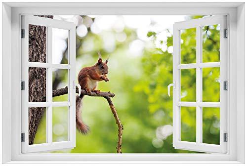 Wallario Acrylglasbild mit Fenster-Illusion: Motiv Eichhörnchen auf einem AST - 60 x 90 cm mit Fensterrahmen in Premium-Qualität: Brillante Farben, freischwebende Optik