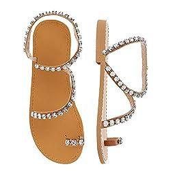 White Diamond Rhinestone Pearl Flat Gladiator Sandal With Toe Ring