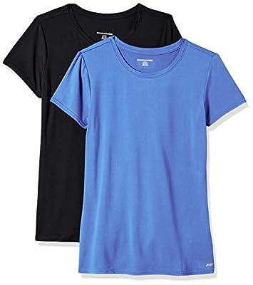 Amazon Essentials Women's 2-Pack Tech Stretch Short-Sleeve Crewneck T-Shirt, -bright blue/black, Small
