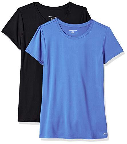 Amazon Essentials 2-Pack Tech Stretch Short-Sleeve Crew T-Shirt Chemisier, Bright Blue/Black, L