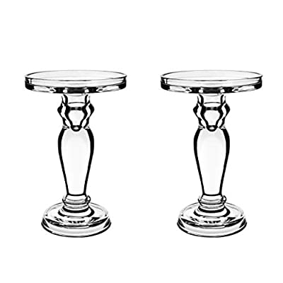 CYS EXCEL Clear Glass Pillar Candle Holder - Taper Candle Stand - Dual Use for Pillar or Taper Candlesticks Pack of 2 PCS