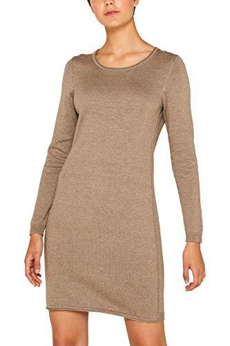 edc by ESPRIT Damen 089Cc1E001 Kleid, Braun (Taupe 5 244), X-Small (Herstellergröße: XS)