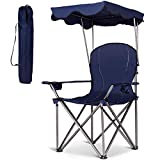 Gymax Beach Chair, Portable Folding Camp Chair Picnic Chair with Canopy Two Cup Holders and Carry Bag, for Outdoor Beach Camp Park Patio (Blue)