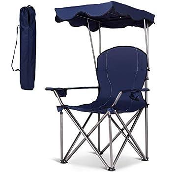 Costway Chaise de Camping Pliante en PVC avec Porte-gobelet, Pare-Soleil, Sac de Transport,Accoudoirs Rembourré Portable 120 KG pour Randonnée, Plage, Pêche (Bleu)