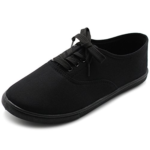 Ollio Womens Shoe Lace Up Sneakers Canvas Flats ML067 (10 B(M) US, Black)