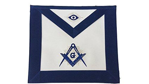 Nayelesis Masonic Freemason Master Mason Apron Hand Embroidered Blue Velvet Borders MA-GV01