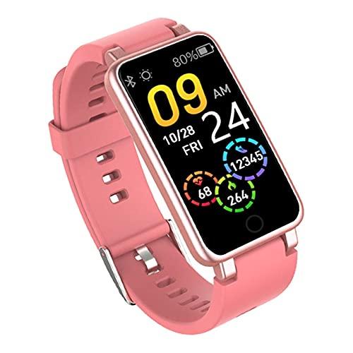 DAIJIA C2plus Pulsera Inteligente para Hombres y Mujeres Reloj con podómetro Bluetooth con batería Grande y Resistente al Agua (Rosa)