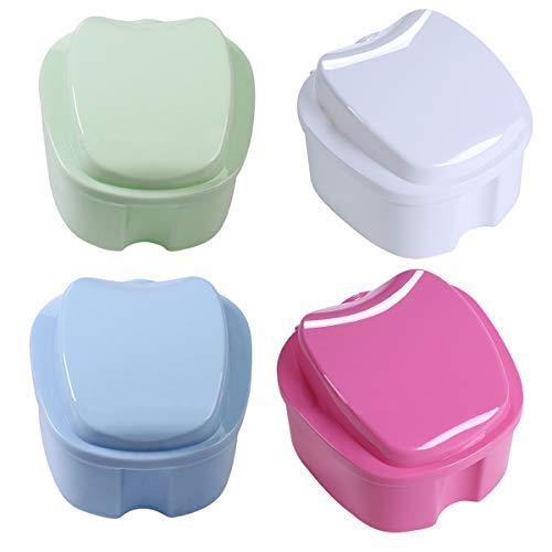 Estuche para Dentadura,Xiuyer 4 Piezas Caja de Baño para Dentadura Postiza con Cesta de Enjuague Dientes Falsos Recipiente de Almacenamiento y Limpieza(Azul claro Verde claro Blanco Rosa)