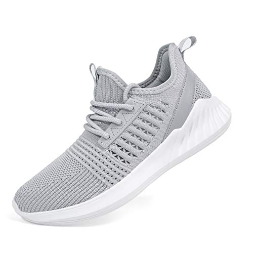 SDolphin Walking Shoes for Women - Knit Lightweight Athletic Running Workout Shoe Gray Size 8