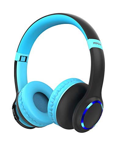 Mpow CH9 Kids Headphones Bluetooth 5.0 LED Light, 15Hours Playing Wireless Foldable Headset w/Mic, Volume Limited 85dB-95dB for PC/Cellphone/TV/School
