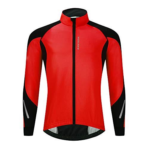 WOSAWE Chaqueta de ciclismo Softshell para hombre, de invierno, térmica, resistente al viento, chaqueta de ciclismo para ocio, bicicleta de montaña, correr, senderismo, montañismo (BL277 rojo, XXXL)