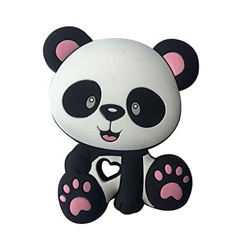 QERMULA Panda Beads Baby Toys Silicone Massaggiagengive Ciuccio Dentizione Catena Fai da Te Mordere Ciondolo da Masticare per Bambini Neonati Baby massaggiagengive Rosa