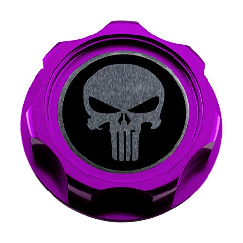 VMS RACING PURPLE OIL CAP with SKULL Emblem in CNC Machined Billet Aluminum Compatible with Honda Acura Integra