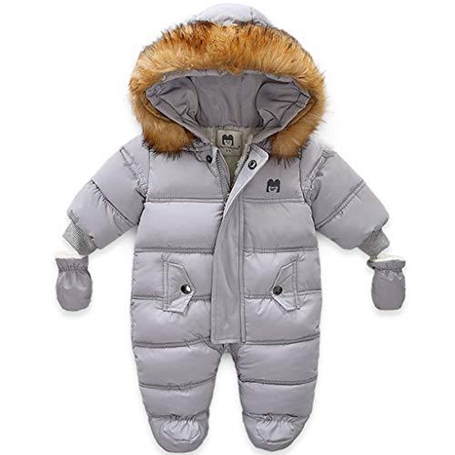 Tuta da Neve per Bambino Pagliaccetto in Pile Tute Invernali Tutina da Neonato Pigiami Interi Addensata Tutone con Cappuccio