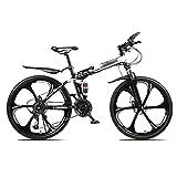 WYZDQ Tragbarer Arbeit Fahrrad Männer und Frauen-Schlag-Absorptions-Folding Mountain Bike Adult Variable Speed Querfeldeinrennen,Weiß,24 Speed (24 inches)