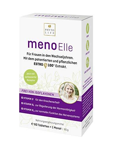 menoElle - für die Wechseljahre. Hormonfrei. Ohne Phytoöstrogene, Isoflavone, Soja. I 60 stk. pflanzliche Tabletten. Monatskur mit EstroG-100 Extrakt.
