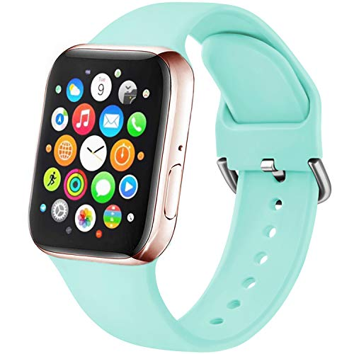 Amzpas Cinturino Compatibile per Apple Watch 38mm 40mm 42mm 44mm, Nuovo Cinturino in Silicone di Sportivo Morbido per iWatch Series 6,5,4,3,2,1,SE1 (38/40mm S/M, 08Menta)