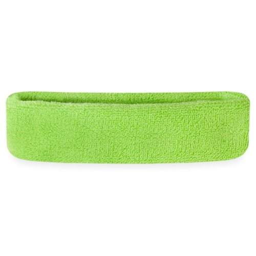 Suddora Sweatband/Headband - Terry Cloth Athletic Basketball Head Sweat Bands (Neon Green)
